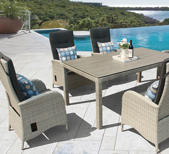 all weather rattan garden dining furniture in grey