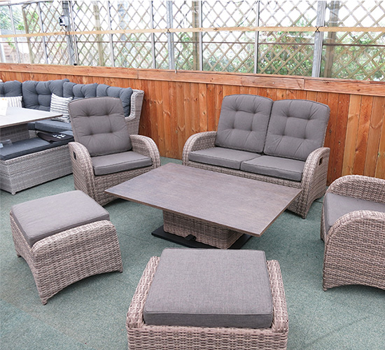 weatherproof rattan garden furniture set in brown